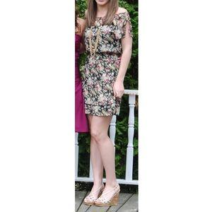 Express Shirred Waist Floral Dress